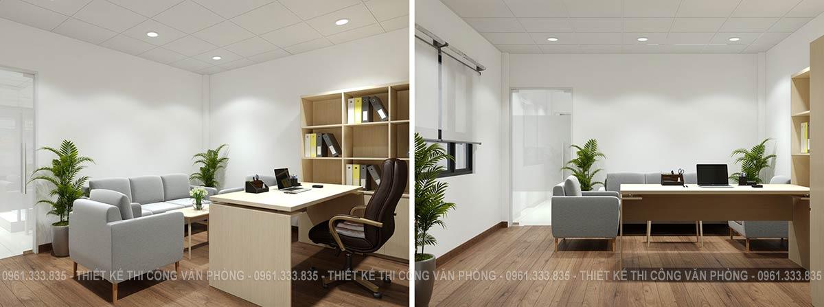 Phòng giám đốc được thiết kế đơn giản nhưng không kém phần sang trọng ấm cúng