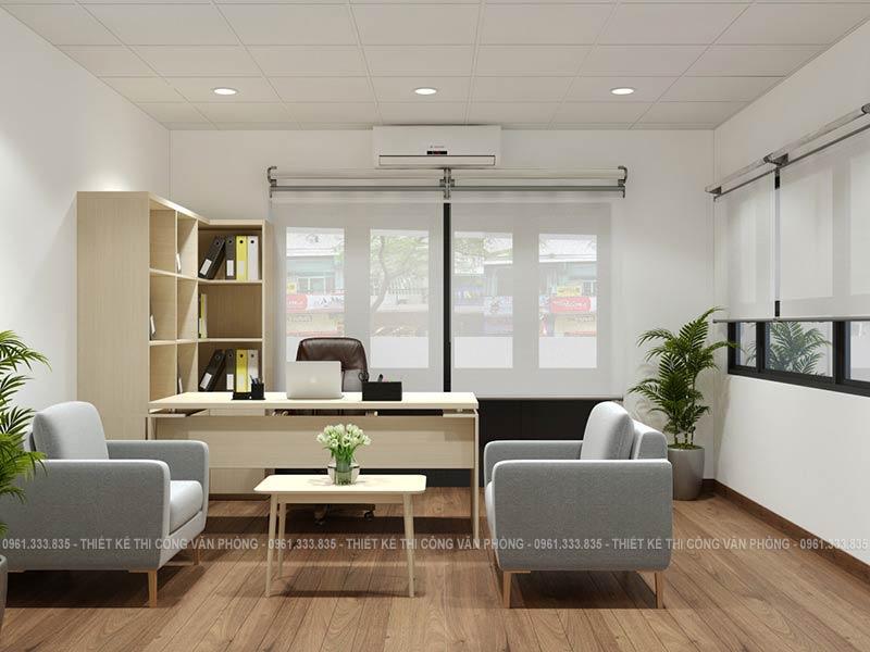 Thiết kế phòng giám đốc với tông màu nhẹ nhàng cùng sàn gỗ sang trọng