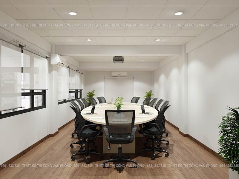 Thiết kế phòng họp hiện đại với bàn họp hình bầu dục
