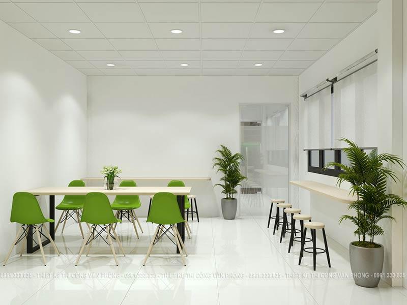 Thiết kế khu vực ăn uống hiện đại với điểm nhấn là ghế ăn màu xanh lá